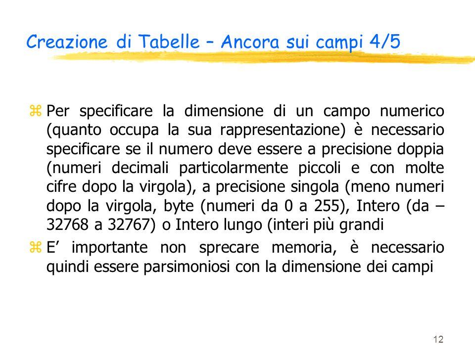 12 Creazione di Tabelle – Ancora sui campi 4/5 zPer specificare la dimensione di un campo numerico (quanto occupa la sua rappresentazione) è necessari