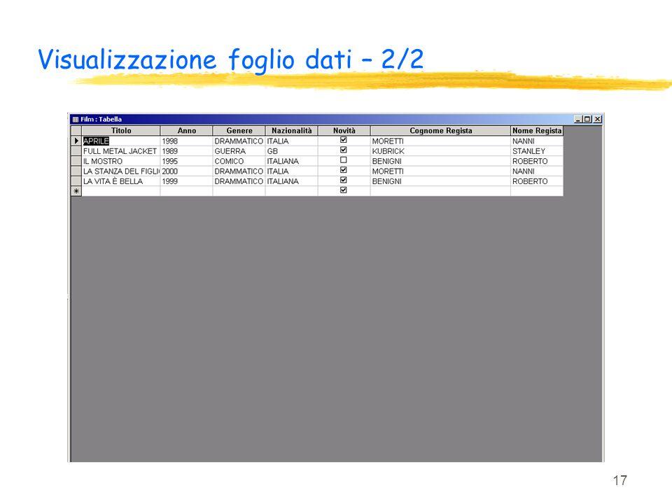 17 Visualizzazione foglio dati – 2/2