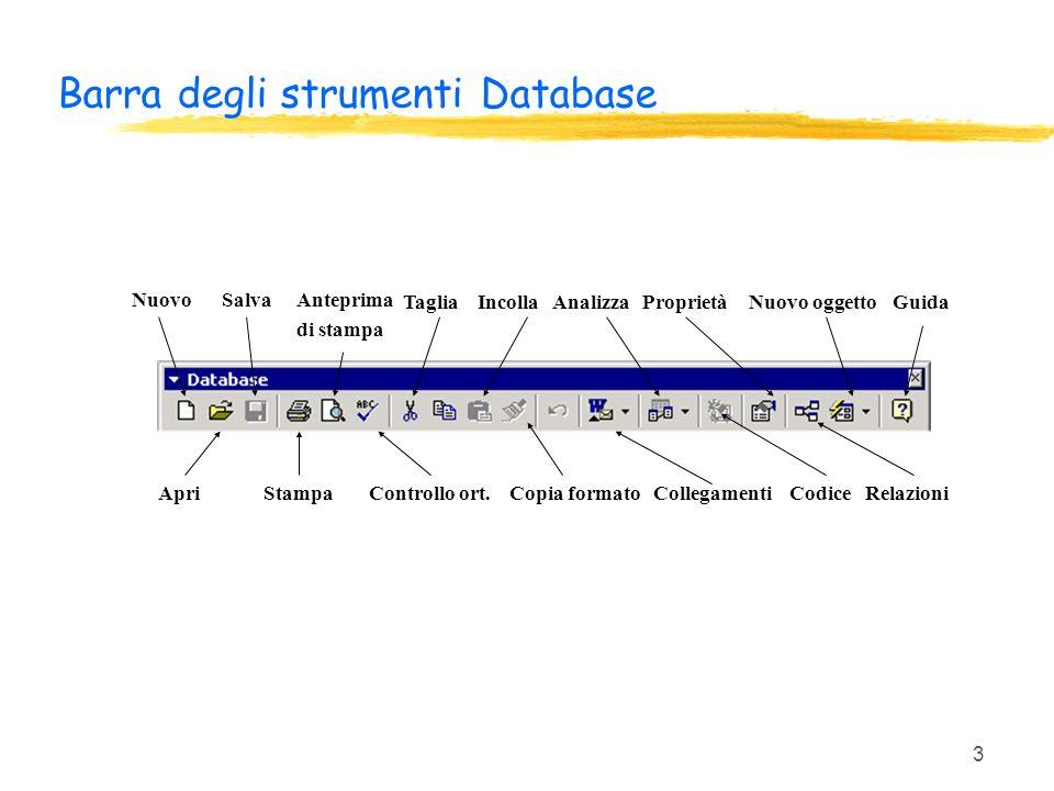 3 Barra degli strumenti Database NuovoSalvaAnteprima di stampa TagliaIncollaAnalizzaProprietàNuovo oggettoGuida ApriStampaControllo ort. Copia formato