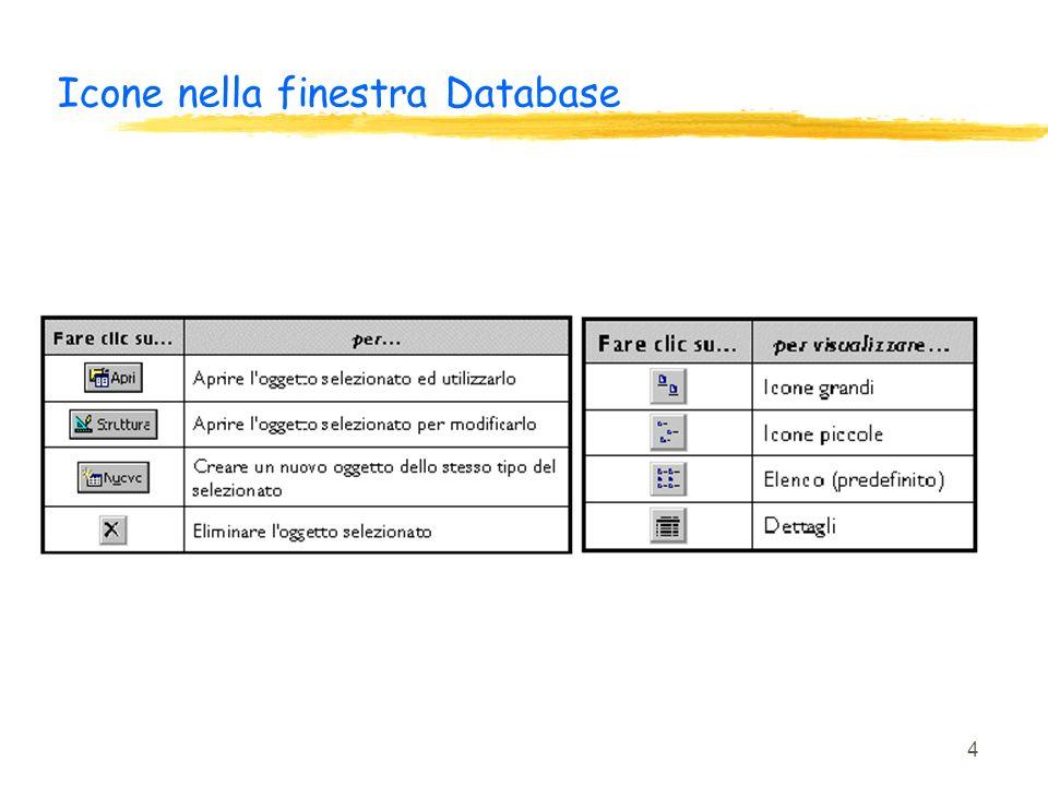 4 Icone nella finestra Database