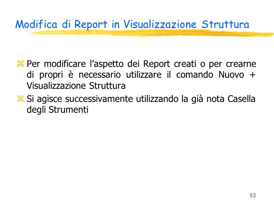 53 Modifica di Report in Visualizzazione Struttura zPer modificare laspetto dei Report creati o per crearne di propri è necessario utilizzare il coman