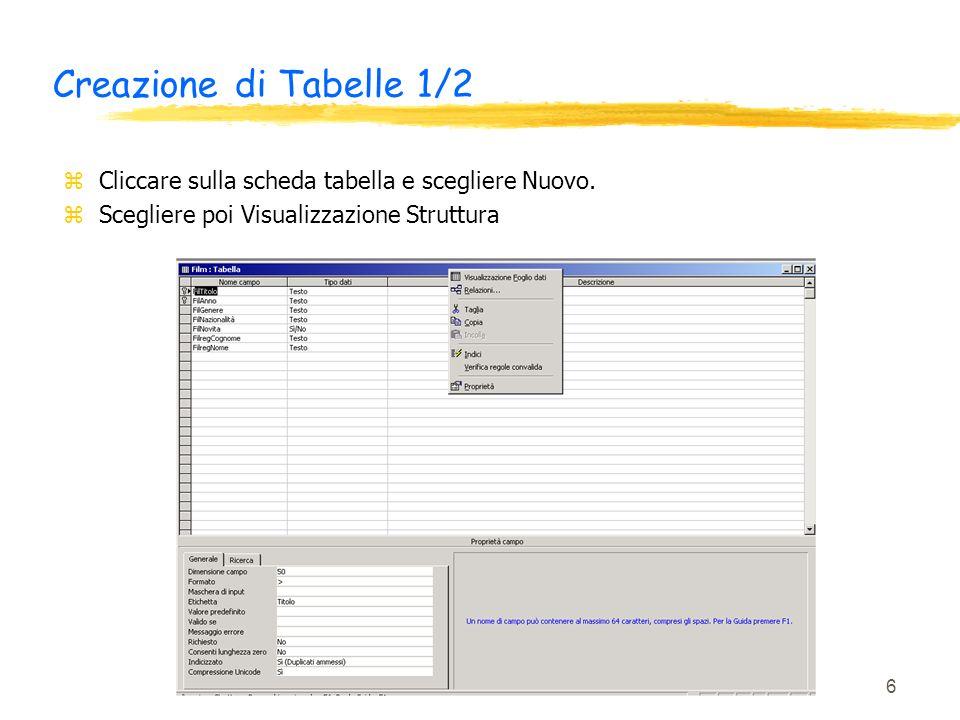 6 Creazione di Tabelle 1/2 zCliccare sulla scheda tabella e scegliere Nuovo. zScegliere poi Visualizzazione Struttura