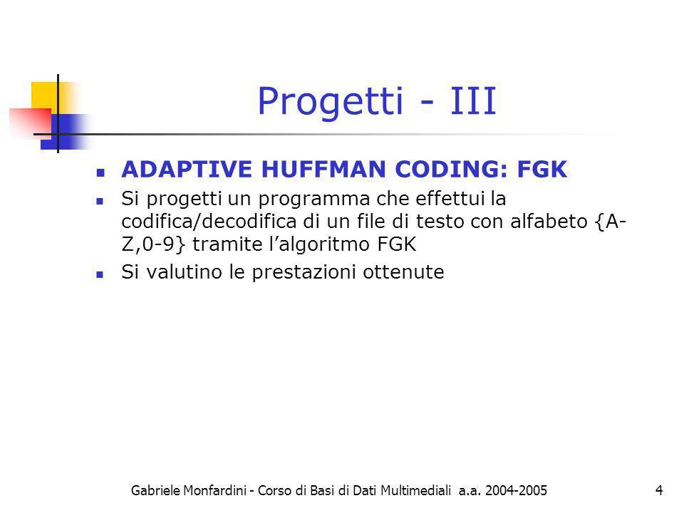 Gabriele Monfardini - Corso di Basi di Dati Multimediali a.a.