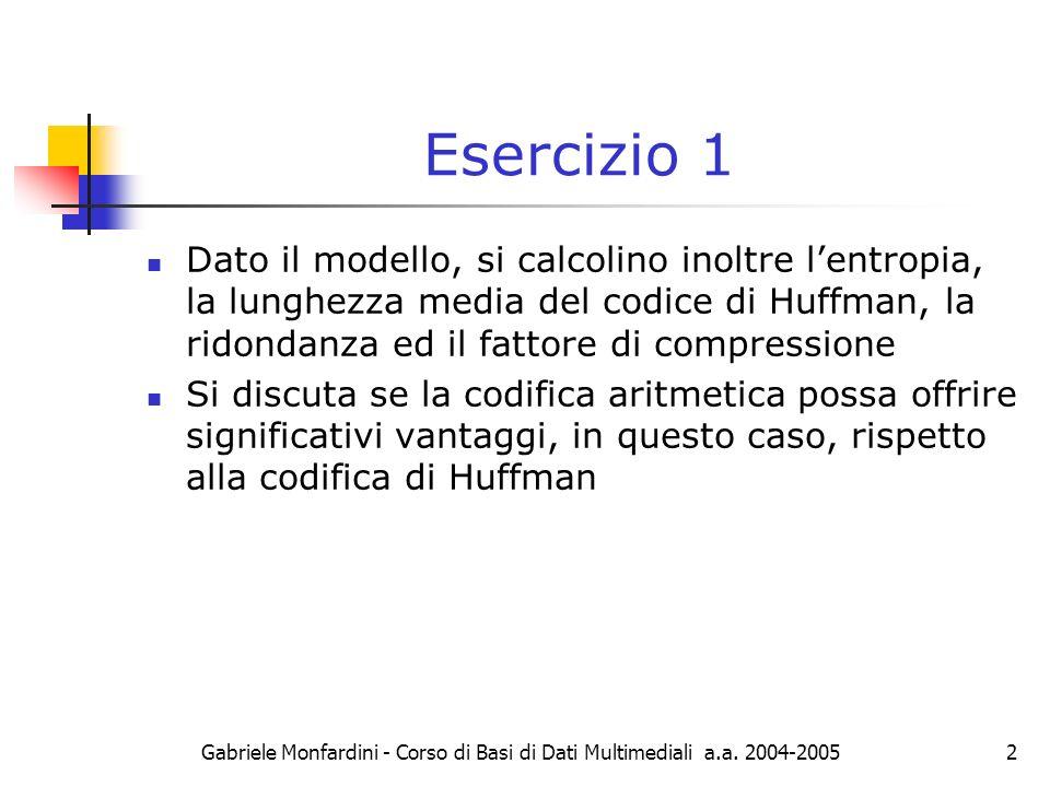 Gabriele Monfardini - Corso di Basi di Dati Multimediali a.a. 2004-20052 Esercizio 1 Dato il modello, si calcolino inoltre lentropia, la lunghezza med