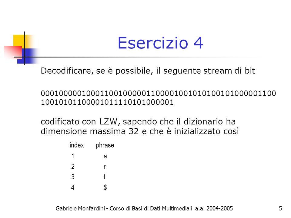 Gabriele Monfardini - Corso di Basi di Dati Multimediali a.a. 2004-20055 Esercizio 4 Decodificare, se è possibile, il seguente stream di bit 000100000