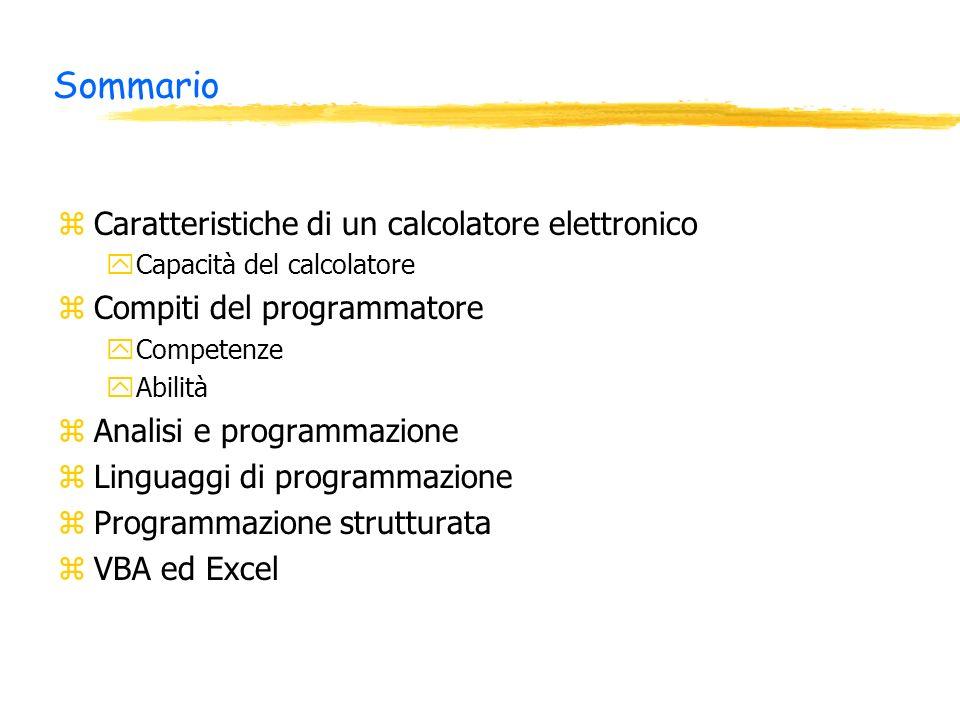 Sommario zCaratteristiche di un calcolatore elettronico yCapacità del calcolatore zCompiti del programmatore yCompetenze yAbilità zAnalisi e programmazione zLinguaggi di programmazione zProgrammazione strutturata zVBA ed Excel