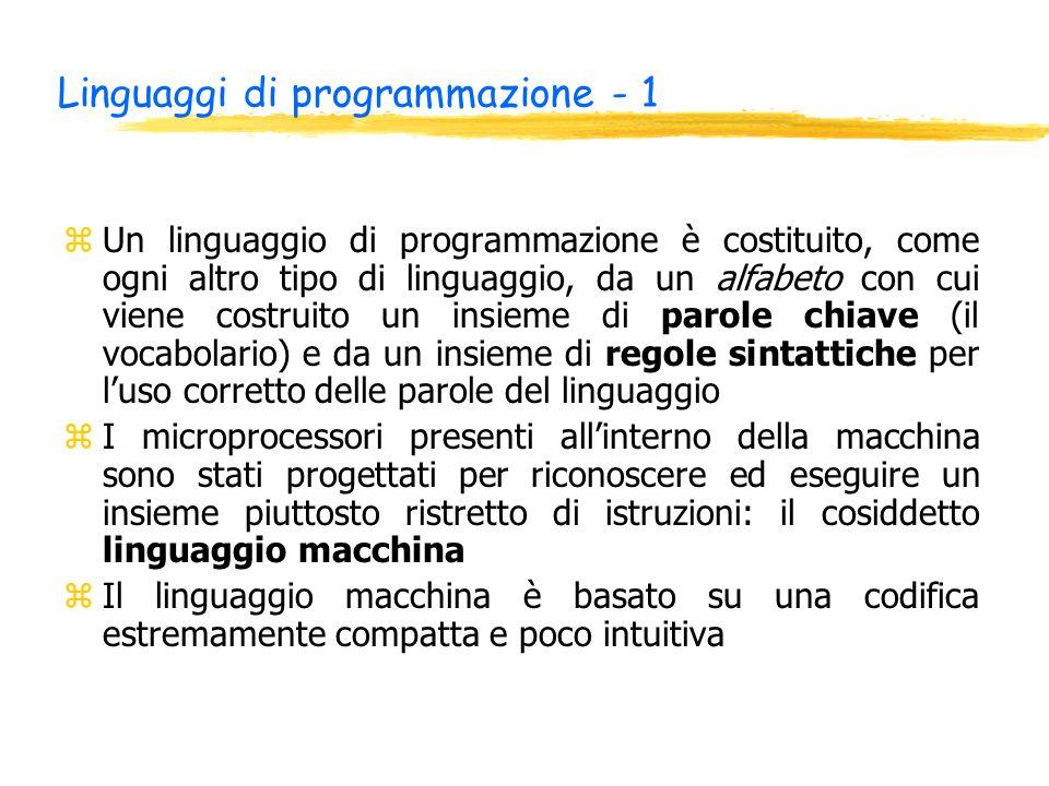 Linguaggi di programmazione - 1 zUn linguaggio di programmazione è costituito, come ogni altro tipo di linguaggio, da un alfabeto con cui viene costru