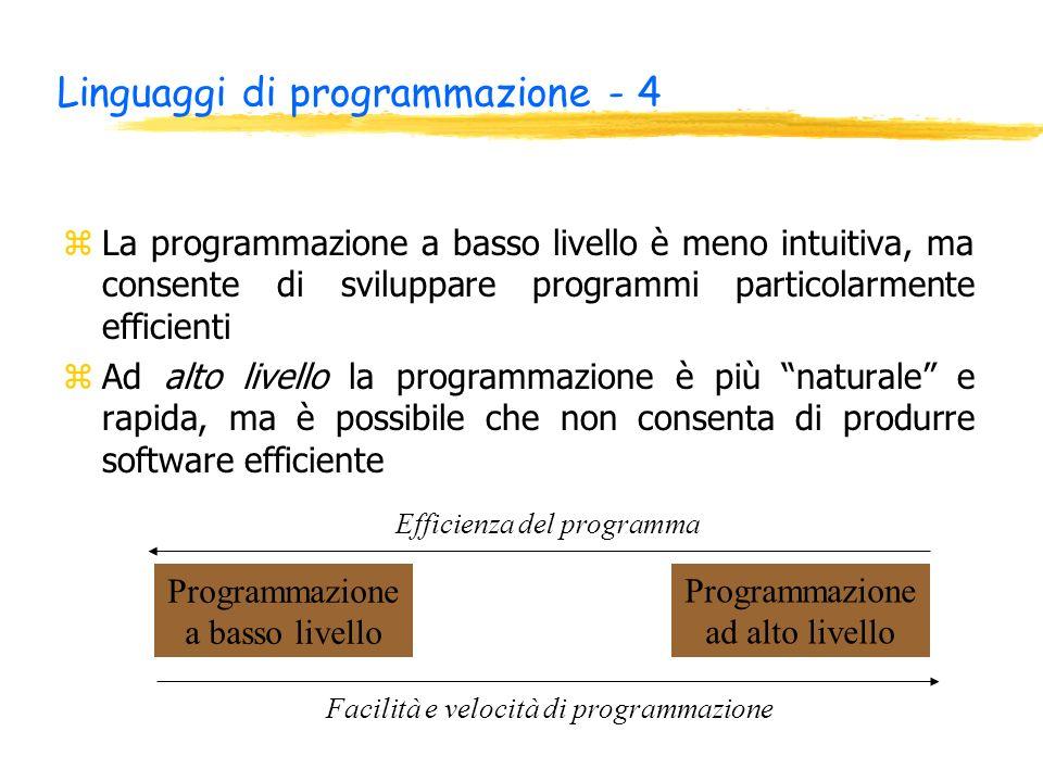 Linguaggi di programmazione - 4 zLa programmazione a basso livello è meno intuitiva, ma consente di sviluppare programmi particolarmente efficienti zA