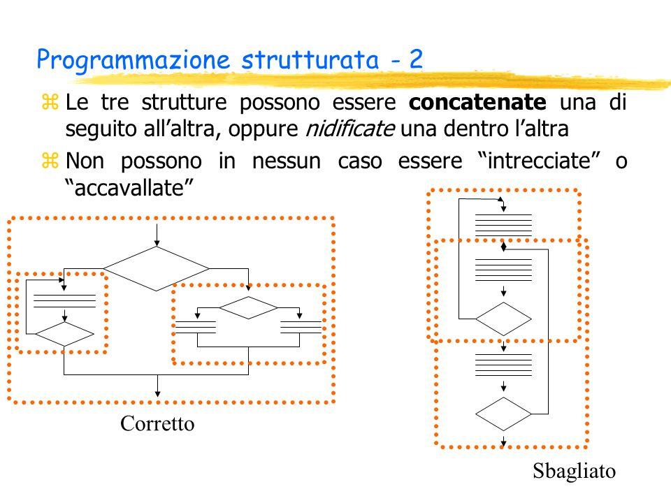 Programmazione strutturata - 2 zLe tre strutture possono essere concatenate una di seguito allaltra, oppure nidificate una dentro laltra zNon possono in nessun caso essere intrecciate o accavallate Corretto Sbagliato