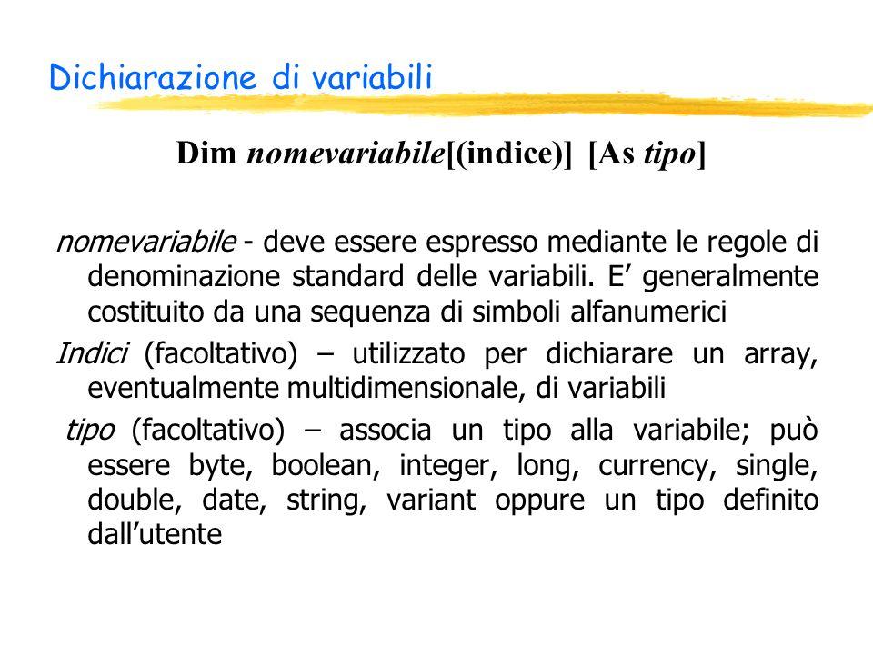 Dichiarazione di variabili nomevariabile - deve essere espresso mediante le regole di denominazione standard delle variabili.