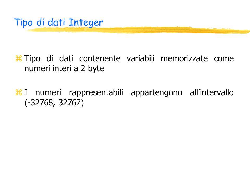 Tipo di dati Integer zTipo di dati contenente variabili memorizzate come numeri interi a 2 byte zI numeri rappresentabili appartengono allintervallo (-32768, 32767)