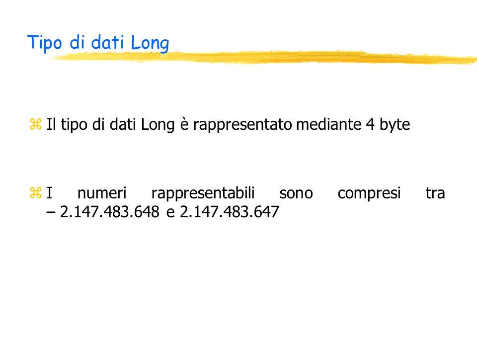 Tipo di dati Long zIl tipo di dati Long è rappresentato mediante 4 byte zI numeri rappresentabili sono compresi tra – 2.147.483.648 e 2.147.483.647