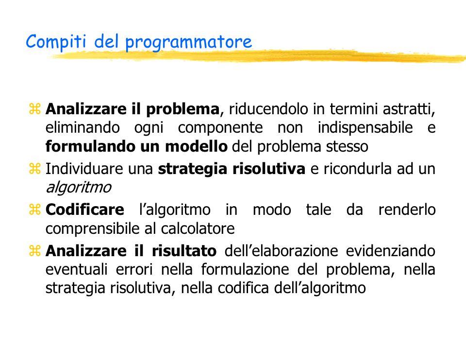 Compiti del programmatore zAnalizzare il problema, riducendolo in termini astratti, eliminando ogni componente non indispensabile e formulando un mode