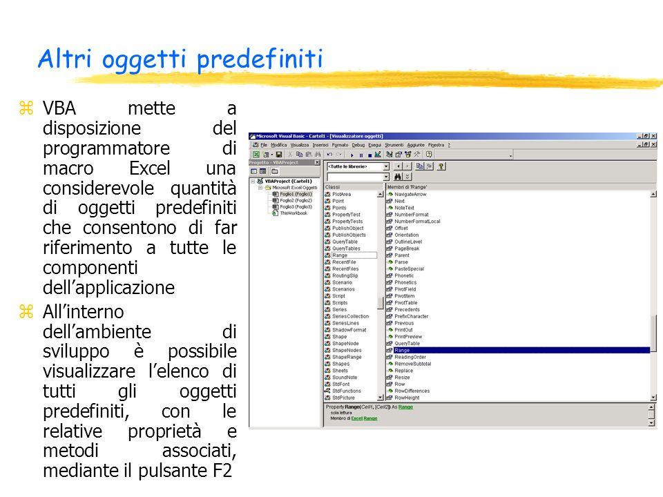 Altri oggetti predefiniti zVBA mette a disposizione del programmatore di macro Excel una considerevole quantità di oggetti predefiniti che consentono
