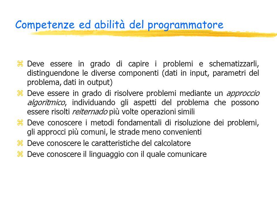 Competenze ed abilità del programmatore zDeve essere in grado di capire i problemi e schematizzarli, distinguendone le diverse componenti (dati in inp