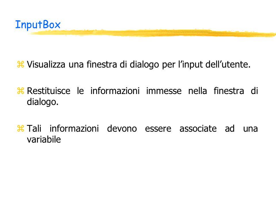 InputBox zVisualizza una finestra di dialogo per linput dellutente. zRestituisce le informazioni immesse nella finestra di dialogo. zTali informazioni