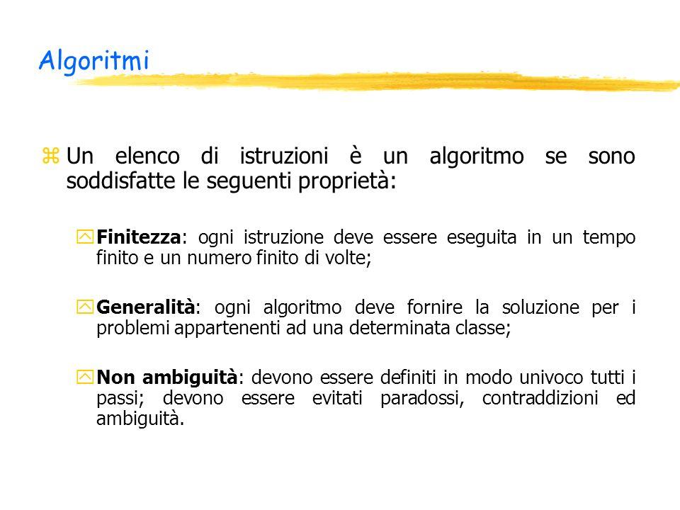 Algoritmi zUn elenco di istruzioni è un algoritmo se sono soddisfatte le seguenti proprietà: yFinitezza: ogni istruzione deve essere eseguita in un te