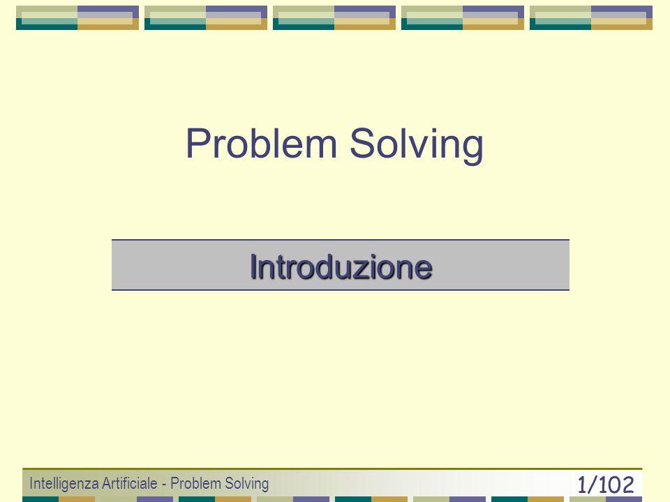 Intelligenza Artificiale - Problem Solving 61/102 Greedy Search Ricerca Best-First che minimizza f(n) = h(n) Memorizza tutti i nodi frontiera 1.if (goal_test(x 0 )== true) return SUCCESS 2.else CODA.insert(x 0, h(x 0 ) ) 3.do { if (CODA.isEmpty()) return FAILURE nodo = CODA.remove(0) figli[] = SCS(nodo) CODA.insert(figli, h(figli)) } while( goal_test(nodo)== false ) 4.return SUCCESS