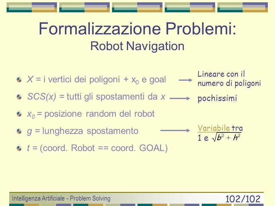 Intelligenza Artificiale - Problem Solving 101/102 Spazio degli stati ed operatori Robot Navigation