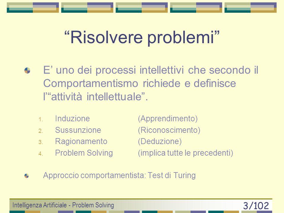 Intelligenza Artificiale - Problem Solving 3/102 Risolvere problemi E uno dei processi intellettivi che secondo il Comportamentismo richiede e definisce lattività intellettuale.