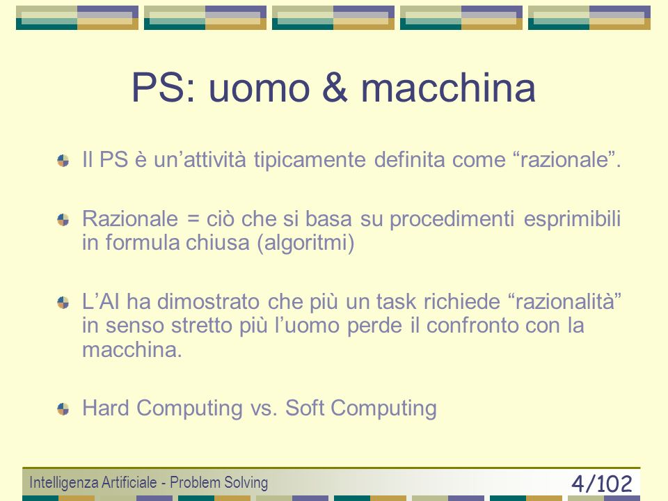 Intelligenza Artificiale - Problem Solving 64/102 Best-First Ottimale: A* (Hart, Nilsson and Raphael, 1968) A* = un nome ambizioso Funzione di valutazione f(n)=g(n)+h(n) Caratteristiche: Ottimale Completo (anche senza lHash!!) Complex time & space: O(b d ) Ottimamente efficiente