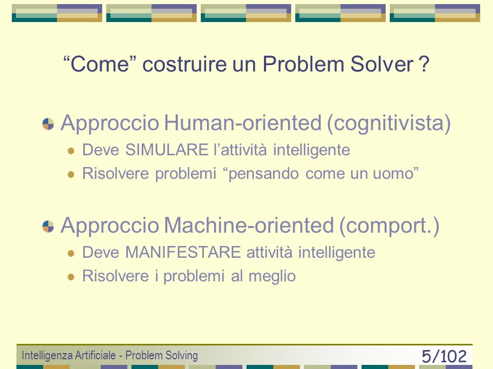 Intelligenza Artificiale - Problem Solving 4/102 PS: uomo & macchina Il PS è unattività tipicamente definita come razionale.
