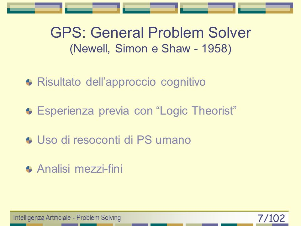 Intelligenza Artificiale - Problem Solving 7/102 GPS: General Problem Solver (Newell, Simon e Shaw - 1958) Risultato dellapproccio cognitivo Esperienza previa con Logic Theorist Uso di resoconti di PS umano Analisi mezzi-fini
