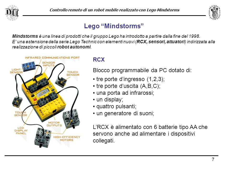 7 Lego Mindstorms Mindstorms è una linea di prodotti che il gruppo Lego ha introdotto a partire dalla fine del 1998.