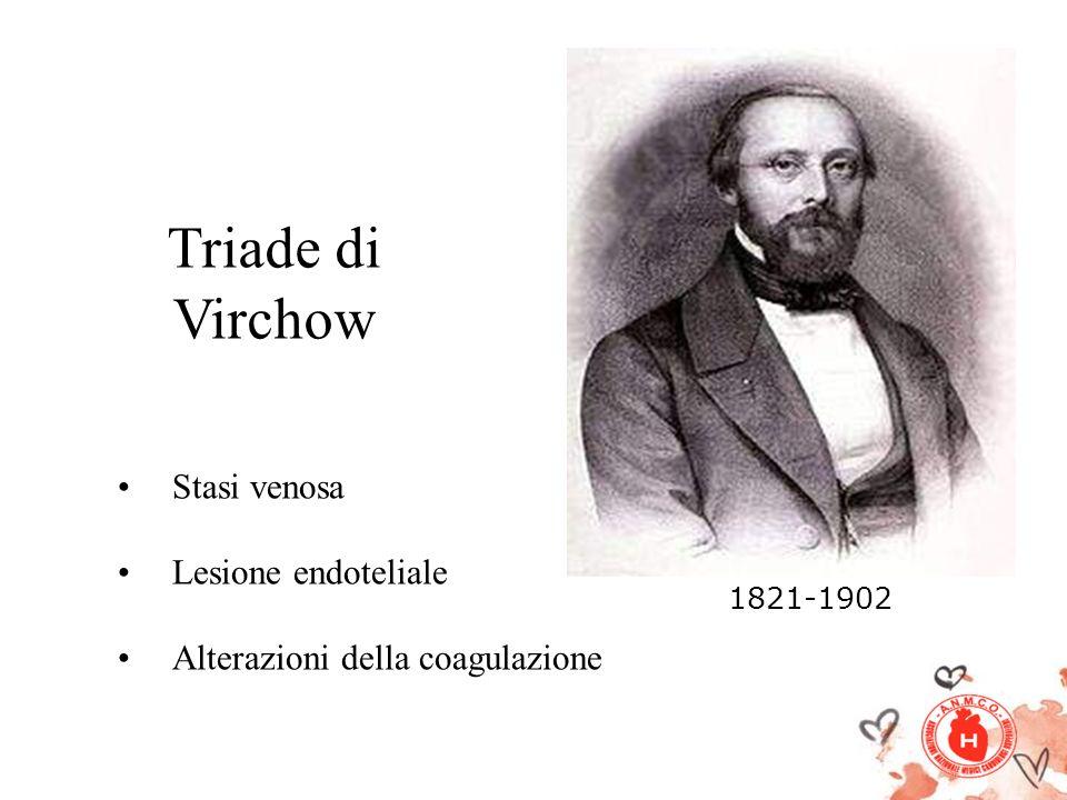Triade di Virchow Stasi venosa Lesione endoteliale Alterazioni della coagulazione 1821-1902