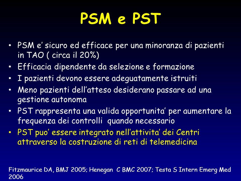 PSM e PST PSM e sicuro ed efficace per una minoranza di pazienti in TAO ( circa il 20%) Efficacia dipendente da selezione e formazione I pazienti devo