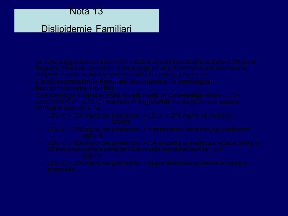 Nota 13 Dislipidemie Familiari La nota suggerisce unapproccio molto simile allimpostazione della CTR della Regione Toscana cercando di dare degli stru
