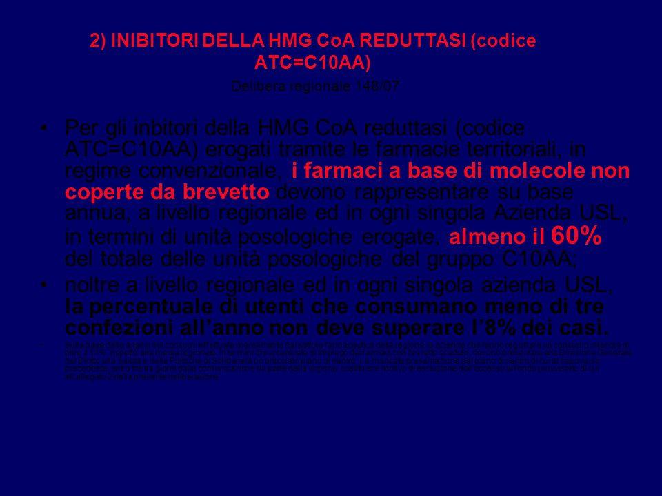 2) INIBITORI DELLA HMG CoA REDUTTASI (codice ATC=C10AA) Delibera regionale 148/07 Per gli inbitori della HMG CoA reduttasi (codice ATC=C10AA) erogati