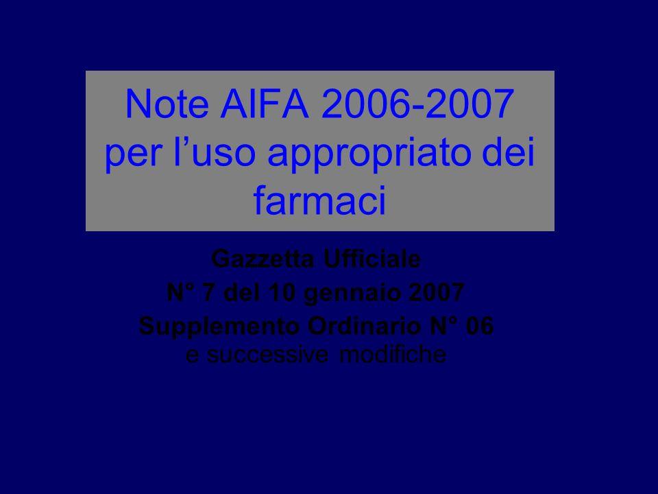 Note AIFA 2006-2007 per luso appropriato dei farmaci Gazzetta Ufficiale N° 7 del 10 gennaio 2007 Supplemento Ordinario N° 06 e successive modifiche