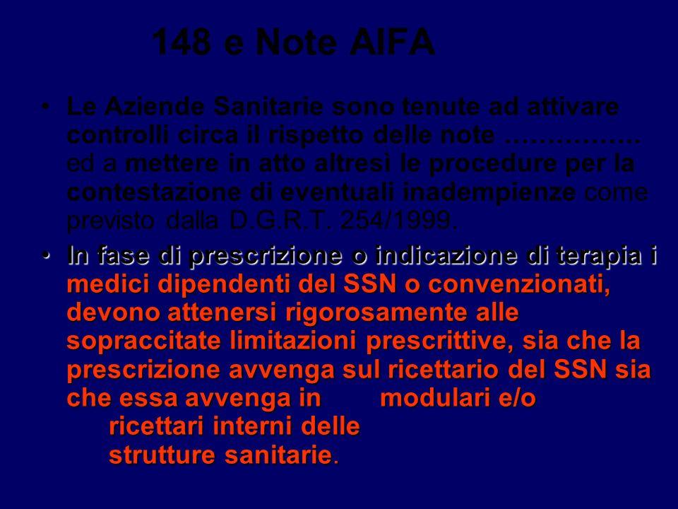 148 eNote AIFA Nel caso in cui il medico ritenga necessario adottare una prescrizione o indicazione terapeutica al di fuori di dette limitazioni deve indicare,sulla prescrizione che il medicinale non è erogabile a carico del SSN.