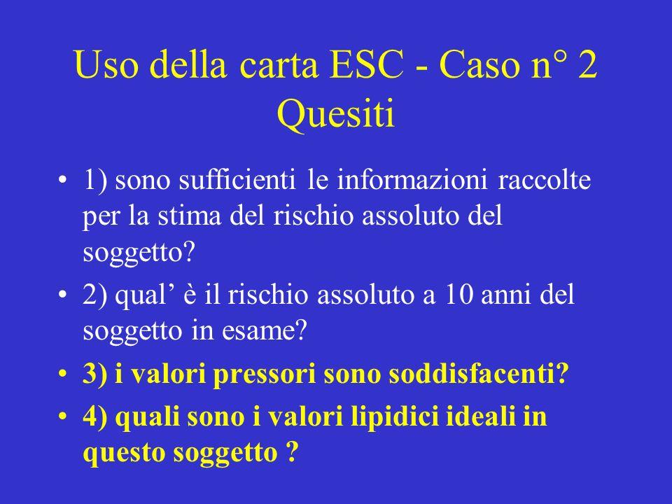 Uso della carta ESC - Caso n° 2 Quesiti 1) sono sufficienti le informazioni raccolte per la stima del rischio assoluto del soggetto.