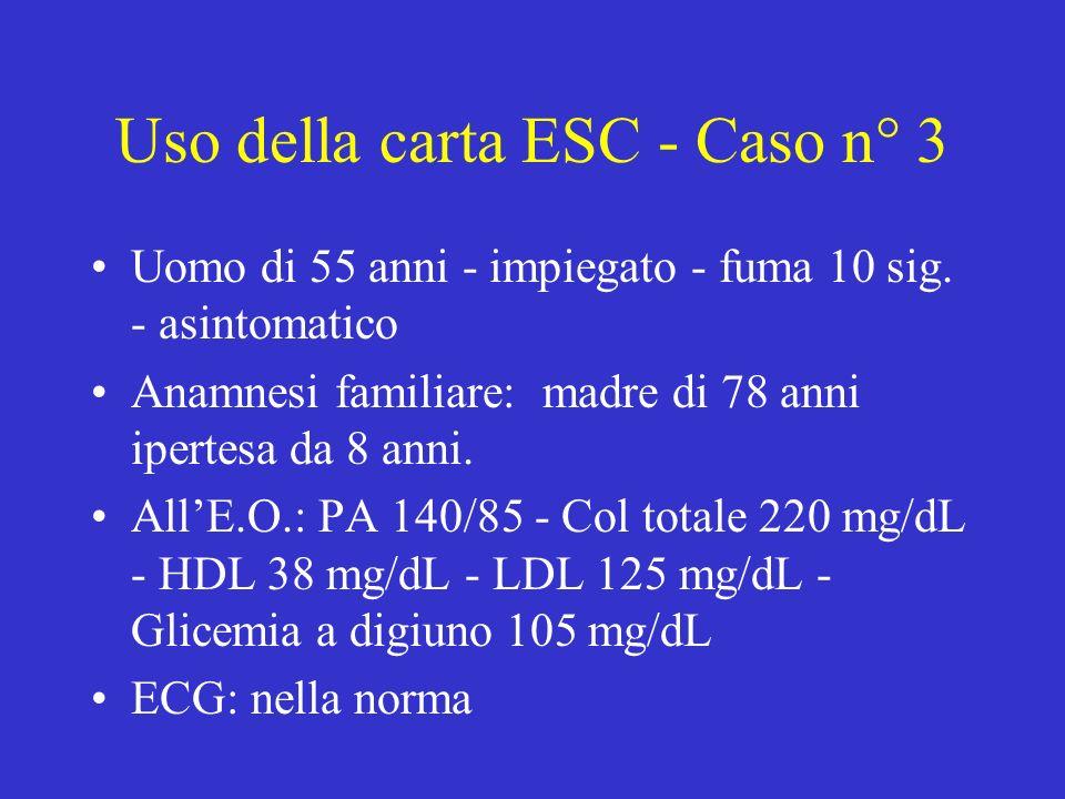 Uso della carta ESC - Caso n° 3 Uomo di 55 anni - impiegato - fuma 10 sig.