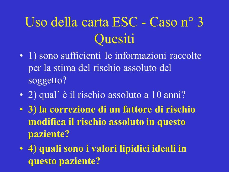 Uso della carta ESC - Caso n° 3 Quesiti 1) sono sufficienti le informazioni raccolte per la stima del rischio assoluto del soggetto.