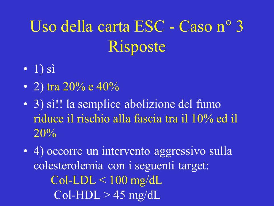 Uso della carta ESC - Caso n° 3 Risposte 1) sì 2) tra 20% e 40% 3) sì!.
