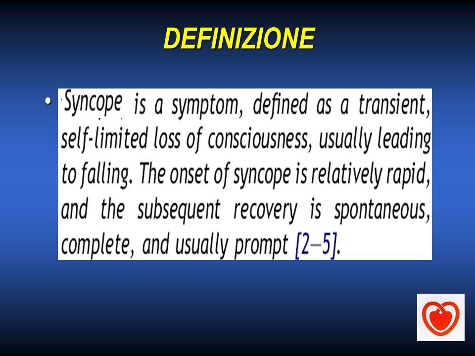 DEFINIZIONE Sincope = Transitoria perdita di coscienza dovuta a transitoria ipoperfusione cerebrale globale caratterizzata da: inizio rapido, durata b