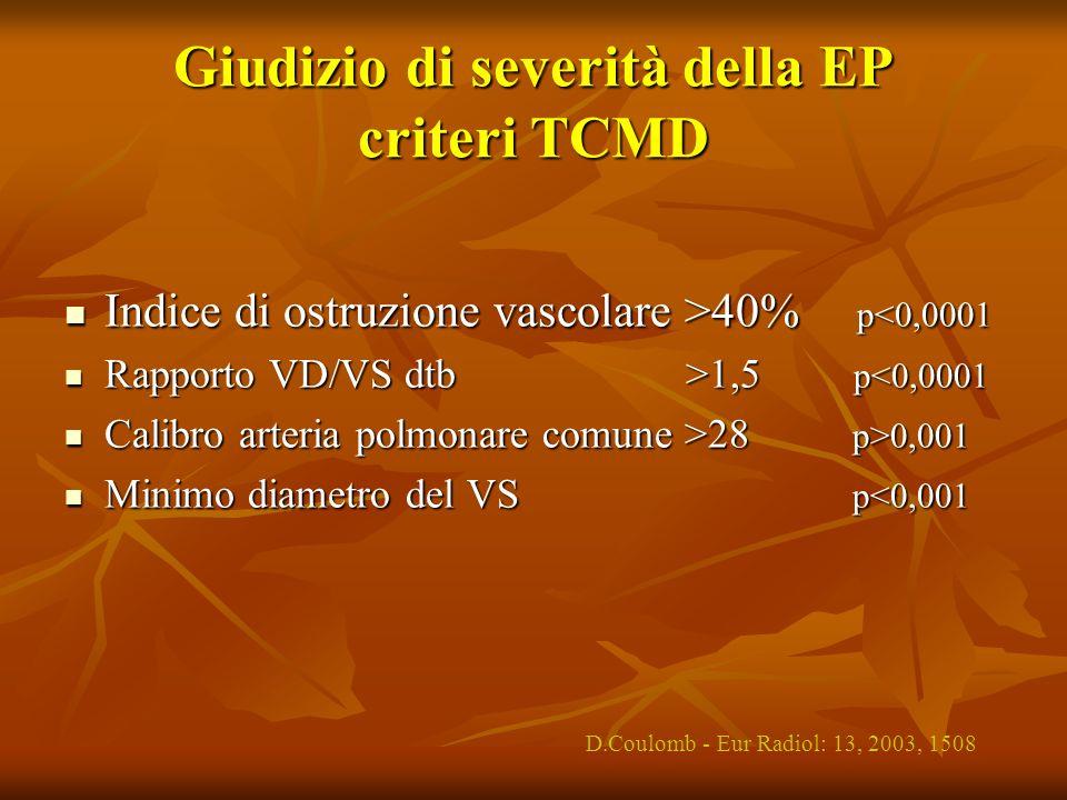 Giudizio di severità della EP criteri TCMD Indice di ostruzione vascolare >40% p 40% p<0,0001 Rapporto VD/VS dtb >1,5 p 1,5 p<0,0001 Calibro arteria p