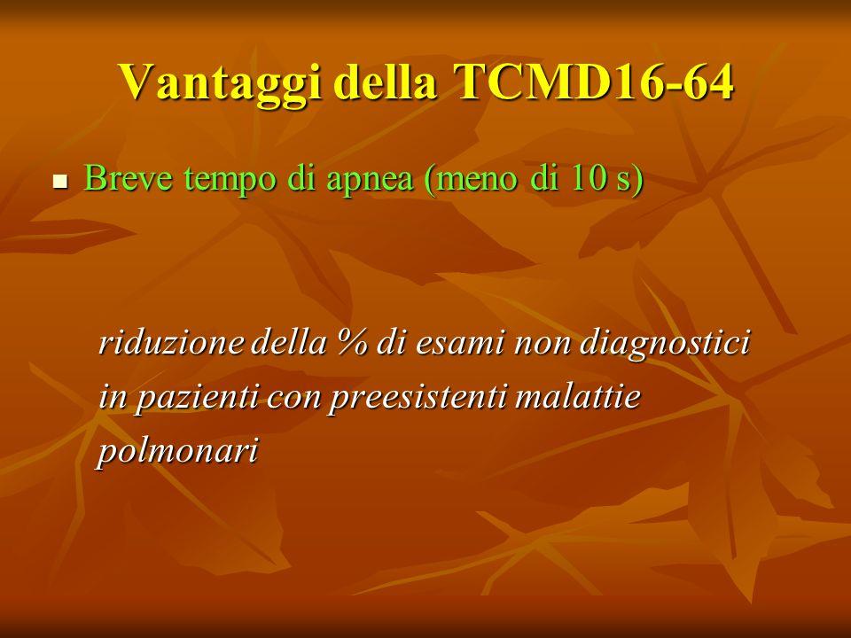 Vantaggi della TCMD16-64 Breve tempo di apnea (meno di 10 s) Breve tempo di apnea (meno di 10 s) riduzione della % di esami non diagnostici riduzione