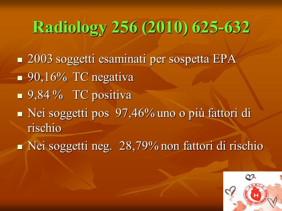 Radiology 256 (2010) 625-632 2003 soggetti esaminati per sospetta EPA 2003 soggetti esaminati per sospetta EPA 90,16% TC negativa 90,16% TC negativa 9