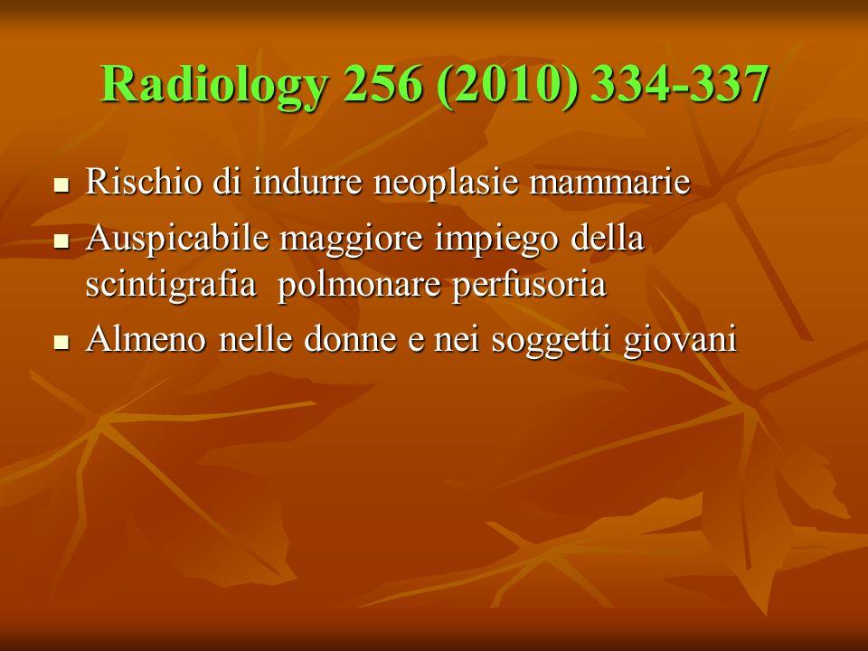 Radiology 256 (2010) 334-337 Rischio di indurre neoplasie mammarie Rischio di indurre neoplasie mammarie Auspicabile maggiore impiego della scintigraf