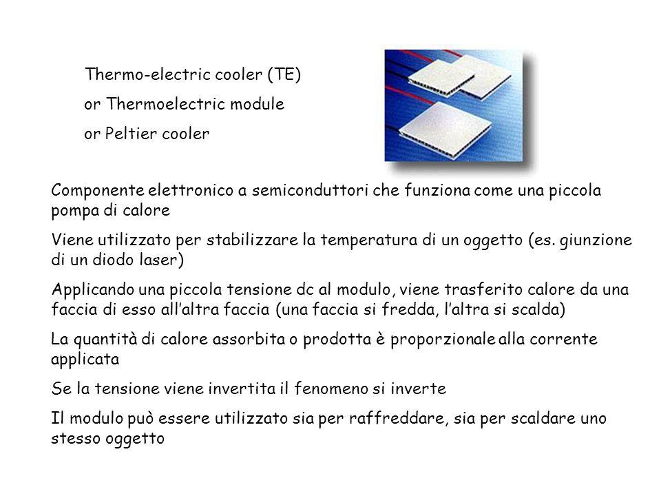 Thermo-electric cooler (TE) or Thermoelectric module or Peltier cooler Componente elettronico a semiconduttori che funziona come una piccola pompa di
