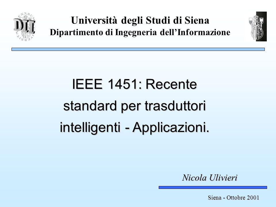 Università degli Studi di Siena Dipartimento di Ingegneria dellInformazione IEEE 1451: Recente standard per trasduttori intelligenti - Applicazioni.