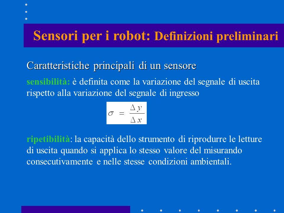 Caratteristiche principali di un sensore sensibilità: è definita come la variazione del segnale di uscita rispetto alla variazione del segnale di ingr