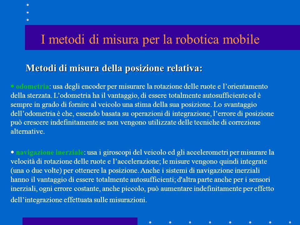 I metodi di misura per la robotica mobile odometria: usa degli encoder per misurare la rotazione delle ruote e lorientamento della sterzata. Lodometri