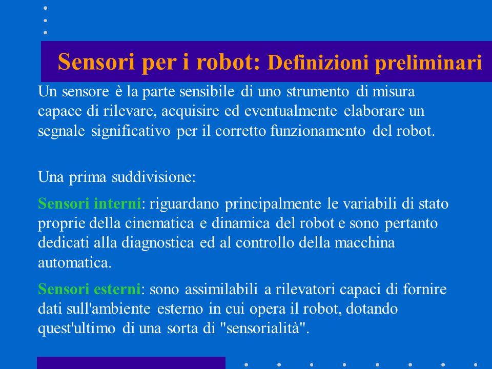 Tra i principali sensori dedicati alla robotica si distinguono: sensori di forza e coppia.