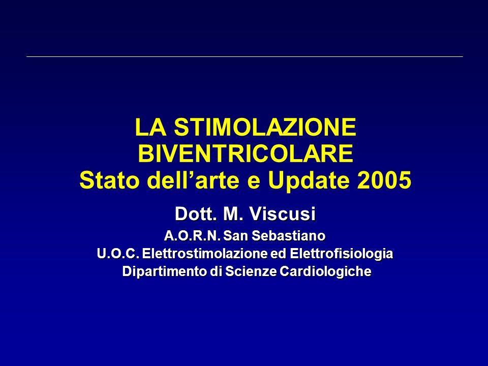 LA STIMOLAZIONE BIVENTRICOLARE Stato dellarte e Update 2005 Dott. M. Viscusi A.O.R.N. San Sebastiano U.O.C. Elettrostimolazione ed Elettrofisiologia D