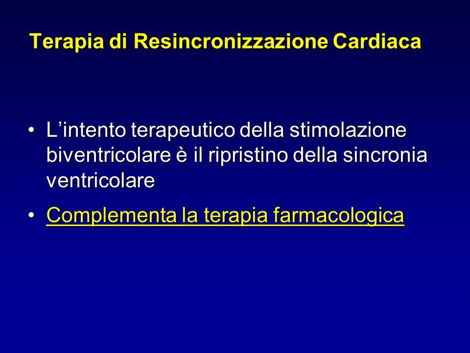 Terapia di Resincronizzazione Cardiaca Lintento terapeutico della stimolazione biventricolare è il ripristino della sincronia ventricolareLintento ter